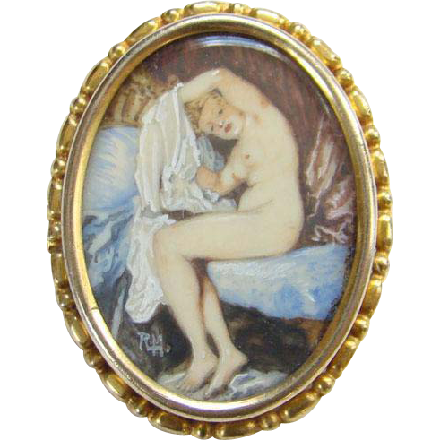 Antique C1890-1910 Edwardian Oval Miniature Portrait Painting Brooch of Nude Female Signed RLM