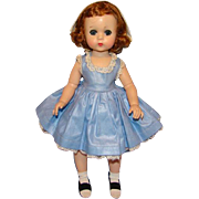 1956-8 Lissy Doll Red Hair Madame Alexander in Blue Polished Cotton Dress