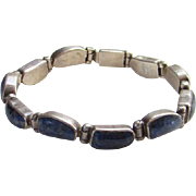 Vintage Taxco Mexico Mexican Sodalite 950 Silver Link Bracelet Signed