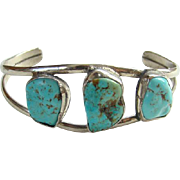 Vintage Navajo Turquoise Nugget Cuff Bracelet Sterling Silver 3 Stones