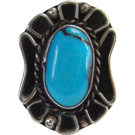 Vintage Sterling Silver Turquoise Navajo Ring Signed LF Lillian Fernando Size 7.5 to 7.75