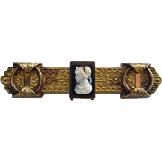 Antique Victorian Gold Filled GF Cameo Bar Collar Brooch Pin