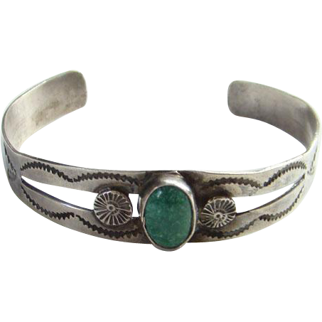 Vintage Navajo Southwestern Green Turquoise Cuff Bracelet Signed W