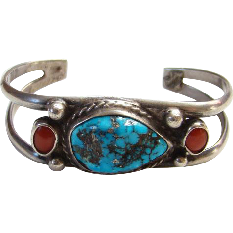 Vintage Navajo Morenci Turquoise Red Coral Cuff Bracelet Sterling Silver