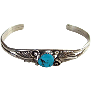 Vintage Navajo Turquoise Cuff Bracelet Signed RB Richard Rita Begay Sterling Silver