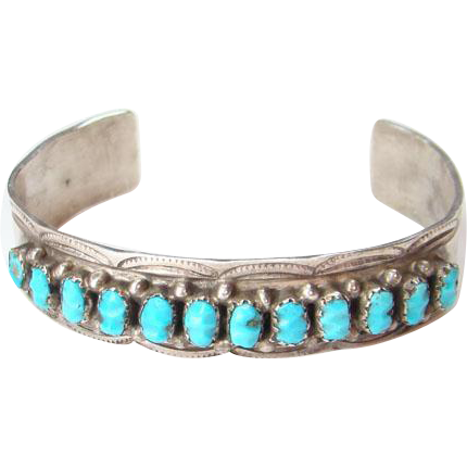 Vintage Native American Turquoise Cuff Bracelet Sterling Silver Stamp Decoration