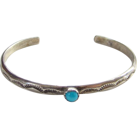 Vintage Baby Child Turquoise Cuff Bracelet Sterling Silver Stamp Decoration
