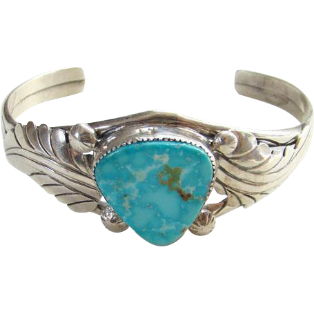 Vintage Irene Tsosie Navajo Blue Turquoise Cuff Bracelet Marked Sterling Signed