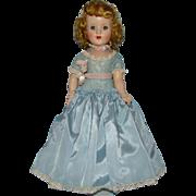 C1952 Sweet Sue Hard Plastic Walker Doll 18 Inch in Rare Blue Taffeta Cotillion Gown