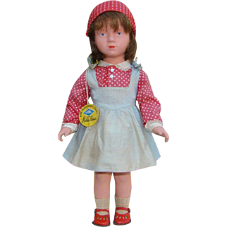 Kathe Kruse Celluloid Plastic Doll Turtle Mark Original Outfit 18 Inch