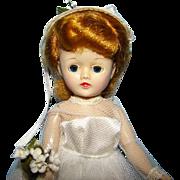 1957 Vogue Jill Bride Doll in Original Beautiful Gown Hard Plastic Redhead 10.5 Inch