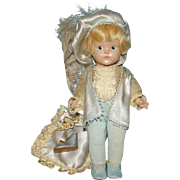 1949 Ginny Painted Eye HP Prince Charming Doll Blue Satin Outfit Pillow Slipper Vogue
