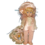 1950 Ginny Painted Eye Prince Charming Doll Pink Satin Outfit Pillow Slipper Vogue Hard Plastic