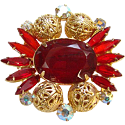 1962 Juliana Red Rhinestone Brooch Goldtone Filigree Balls Verified DeLizza Elster Book Piece