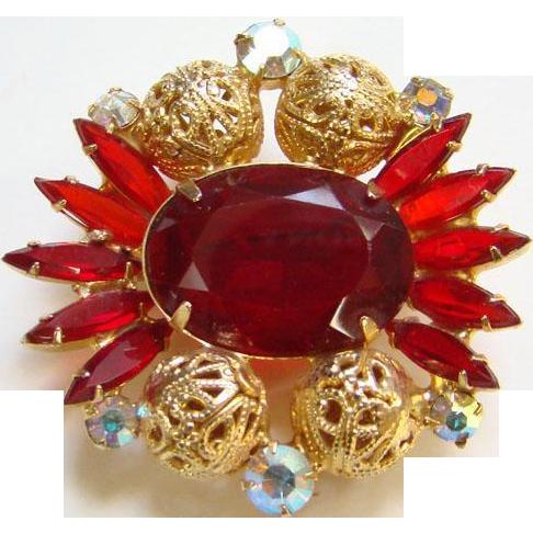 1962 Juliana Red Rhinestone Brooch Goldtone Filigree Balls Verified DeLizza Elster Book Piece