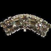 Vintage Smoky Quartz Black Diamond Rhinestone Brooch Pin with Wire Over Tier