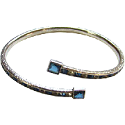 Vintage Sterling Silver Art Deco Style Sapphire Blue Clear Rhinestones By Pass Bracelet Channel Set Stones