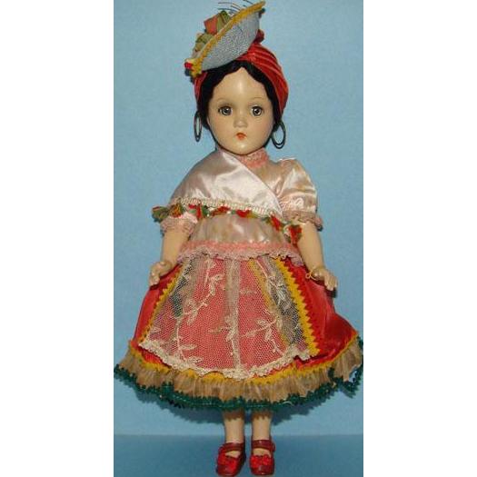 Rare 1939 Madame Alexander Carmen Doll Composition 15 Inch in Original Costume
