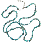 Vintage Turquoise Nugget Necklace Long Strand 34.5 Inches Southwestern Style