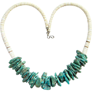 Vintage Turquoise Nugget White Graduated Heishi Shell Necklace Southwestern