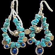 Vintage Turquoise Nugget Blue Lapis Dangle Pierced Earrings Silvertone Accents Southwestern Style