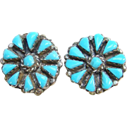 Vintage Zuni Turquoise Cluster Clip Earrings Sterling Silver Native American