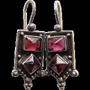 Vintage Bohemian Style Sterling Silver Pierced Dangle Earrings Pink Stone Boho Chic