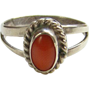 Vintage Native American Red Coral Ring Size 7.75 Sterling Silver Southwestern
