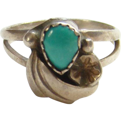 Vintage Navajo Turquoise Ring Size 6 Sterling Silver Native American