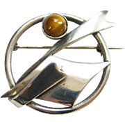 Vintage Tiger Eye Sterling Silver Pin Brooch Modernist Style