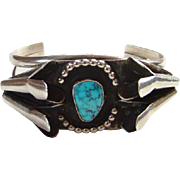 Vintage Navajo Turquoise Sterling Silver Squash Blossom Cuff Bracelet Native American