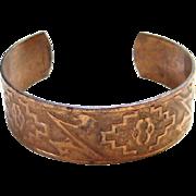 Vintage Genuine Copper Cuff Bracelet Embossed Decoration Southwestern Style Marked