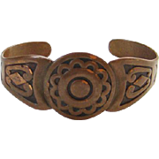 Vintage Old Bell Trading Post Navajo Copper Cuff Bracelet Native American Signed
