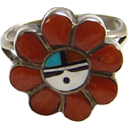 Zuni Sun Face Inlay Ring Red Coral Turquoise Onyx MOP Sterling Silver Size 7 Native American