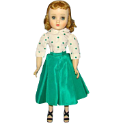 1950s Madame Alexander HP Elise Doll 15 Inch Green Taffeta Street Dress Outfit