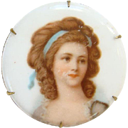 Vintage Old Round Porcelain Portrait Brooch 18th Century Georgian Lady