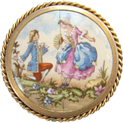 Vintage Old Chabrol Limoges Porcelain Pin Brooch 18th Century Romantic Courting Couple