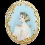 Vintage Old Oval Porcelain Portrait Brooch Pin Edwardian Lady in Pink Dress Flowers in Hair