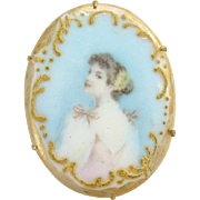 Vintage Old Oval Porcelain Portrait Brooch Pin Edwardian Lady in Pink Dress Flowers in Hair