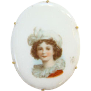 Vintage Old Oval Porcelain Portrait Brooch Edwardian Woman with White Hat