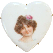 Vintage Old Heart Shape Porcelain Portrait Brooch Pin Edwardian Woman with Flower in Hair