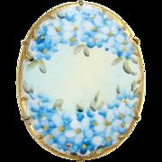 Vintage Old Large Hand Painted Oval Porcelain Brooch Pin Blue Forget Me Not Flowers Gold Gilt Border