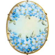 Vintage Old Large Hand Painted Oval Porcelain Brooch Pin Blue Forget Me Not Flowers Gold Gilt Border