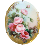 Vintage Old Hand Painted Large Porcelain Brooch Pin Pink Cabbage Roses C Clasp