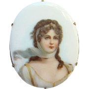 Vintage Old Oval Porcelain Portrait Brooch Pin of Queen Louise of Prussia