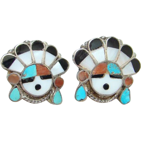 Vintage Zuni Sterling Silver Inlay Sun Face Screw Back Earrings Turquoise Coral MOP Onyx