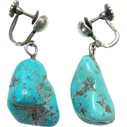 Vintage Sterling Silver Turquoise Nugget Dangle Earrings Screw Back Marked