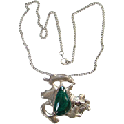 Vintage Clarence Dorr Free Form Abstract Malachite Sterling Silver Necklace Pendant Southwestern
