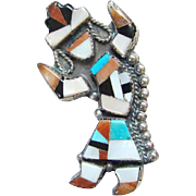 Vintage Native American Zuni Kachina Dancer Sterling Silver Brooch Pin Turquoise Coral Mother of Pearl Onyx