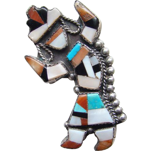 Zuni Rainbow Man Brooch Pin Kachina Dancer Sterling Silver Inlay Mosaic Turquoise Coral Mother of Pearl Jet